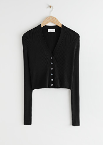 앤 아더 스토리즈 & OTHER STORIES Cropped Ribbed Cardigan,Black