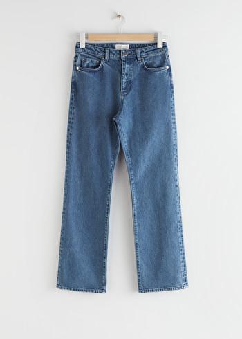 앤 아더 스토리즈 & OTHER STORIES Cropped High Rise Jeans,Mid Blue