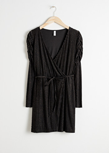 앤 아더 스토리즈 랩 원피스 & OTHER STORIES Glitter Stripe Velvet Wrap Dress,Black