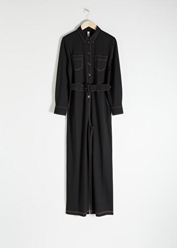 앤 아더 스토리즈 보일러 수트 & OTHER STORIES Workwear Boiler Suit,Black