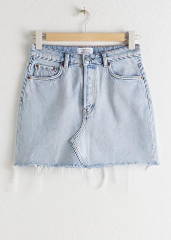 앤 아더 스토리즈 & OTHER STORIES Raw Edge Denim Mini Skirt,Light Blue