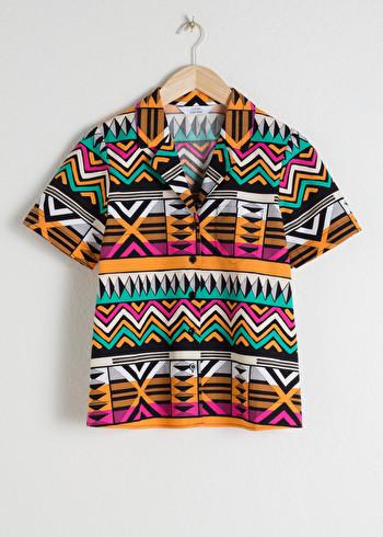 앤 아더 스토리즈 셔츠 & OTHER STORIES Graphic Button Up Shirt,Black
