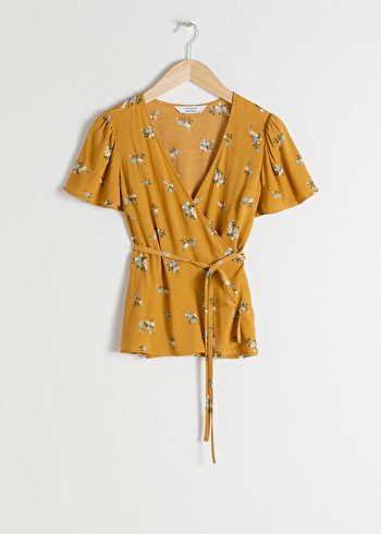 앤 아더 스토리즈 & OTHER STORIES Floral Wrap Blouse,Yellow Floral