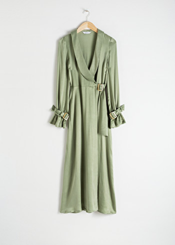 앤 아더 스토리즈 랩 원피스 & OTHER STORIES Belted Wrap Maxi Dress,Pistachio