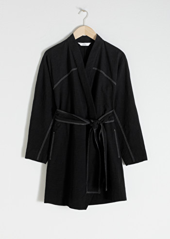 앤 아더 스토리즈 랩 원피스 & OTHER STORIES Belted Kimono Wrap Dress,Black