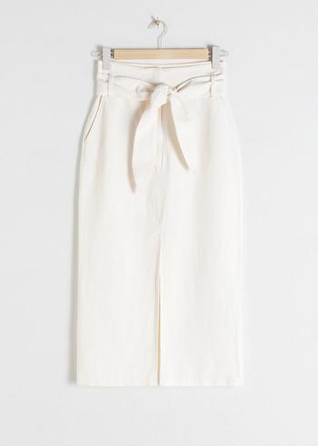 앤 아더 스토리즈 & OTHER STORIES Linen Blend Paperbag Waist Midi Skirt,White