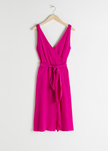 앤 아더 스토리즈 미디 랩 원피스 & OTHER STORIES Sleeveless Midi Wrap Dress,Pink