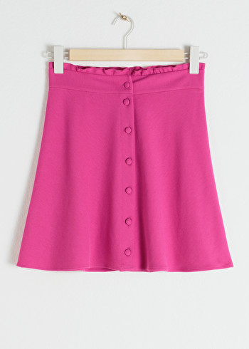 앤 아더 스토리즈 러플 플레어 스커트 & OTHER STORIES Ruffle Waist Cotton Flared Skirt,Pink