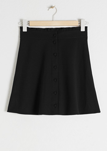 앤 아더 스토리즈 러플 스커트 & OTHER STORIES Ruffle Waist Cotton Flared Skirt,Pink