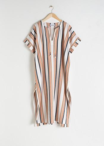 앤 아더 스토리즈 스트라이프 카프탄 & OTHER STORIES Linen Blend Striped Kaftan,White