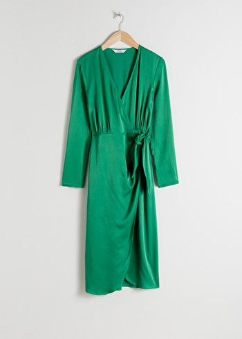 앤 아더 스토리즈 랩 원피스 & OTHER STORIES Side Tie Satin Midi Dress,Green