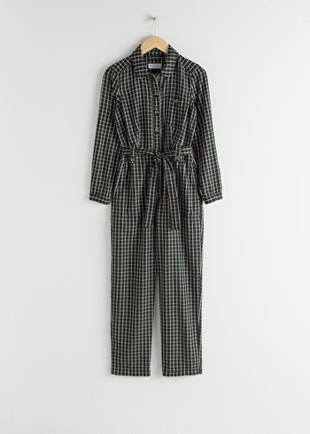 앤 아더 스토리즈 벨티드 체크 점프수트 & OTHER STORIES Lyocell Belted Check Jumpsuit,Black Check