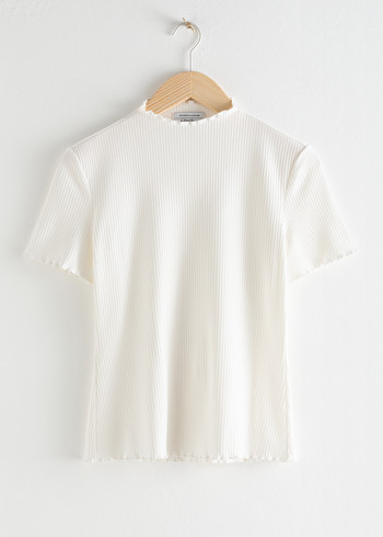 앤 아더 스토리즈 & OTHER STORIES Stretch Rib Knit Top,White