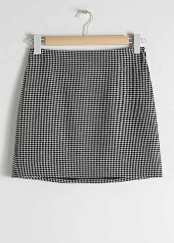 앤 아더 스토리즈 스커트 & OTHER STORIES Houndstooth Mini Skirt,Black Houndstooth