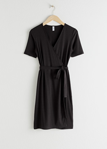 앤 아더 스토리즈 랩 원피스 & OTHER STORIES Stretchy Ribbed Wrap Dress,Black