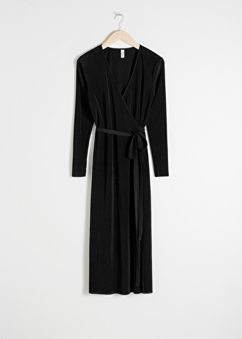 앤 아더 스토리즈 랩 원피스 & OTHER STORIES Plisse Pleated Wrap Dress,Black