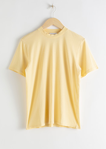 앤 아더 스토리즈 & OTHER STORIES Organic Cotton Crewneck T-Shirt,Yellow