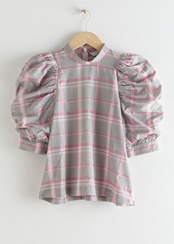 앤 아더 스토리즈 블라우스 & OTHER STORIES Puff Shoulder Chiffon Blouse,Pink