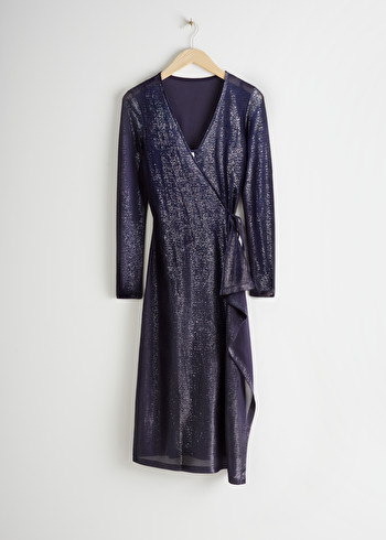 앤 아더 스토리즈 메탈릭 랩 원피스 & OTHER STORIES Metallic Midi Wrap Dress,Metallic Blue
