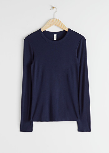 앤 아더 스토리즈 & OTHER STORIES Micro Ribbed Long Sleeve T-Shirt,Navy