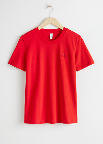 앤 아더 스토리즈 & OTHER STORIES Organic Cotton Embroidered Whiskers T-Shirt,Red