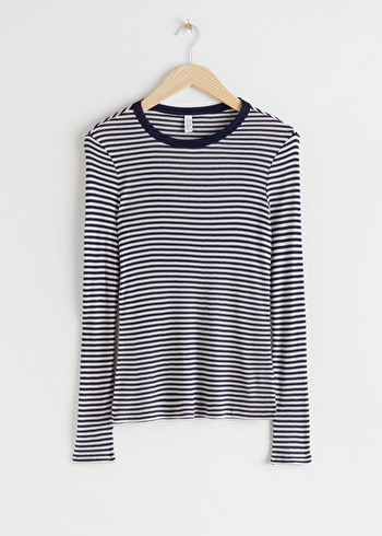 앤 아더 스토리즈 & OTHER STORIES Striped Long Sleeve Top,Black Stripe