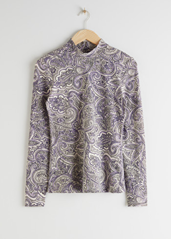 앤 아더 스토리즈 & OTHER STORIES Organic Cotton Blend Mock Neck Top,Lilac Paisley