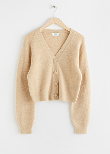 앤 아더 스토리즈 & OTHER STORIES Alpaca Blend V-Neck Cardigan,Oatmeal