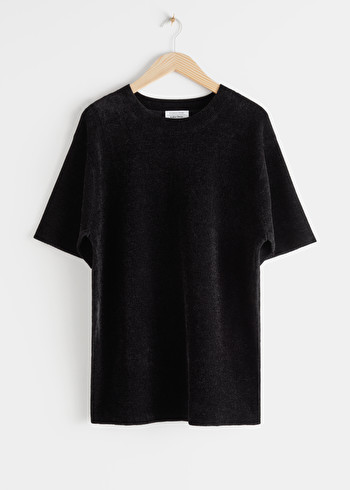 앤 아더 스토리즈 & OTHER STORIES Oversized Knit T-Shirt,Black