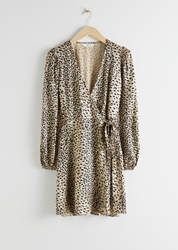 앤 아더 스토리즈 원피스 & OTHER STORIES Leopard Print Mini Wrap Dress,Leopard