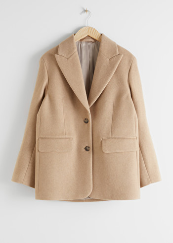앤 아더 스토리즈 & OTHER STORIES Oversized Wool Blend Tailored Blazer,Beige