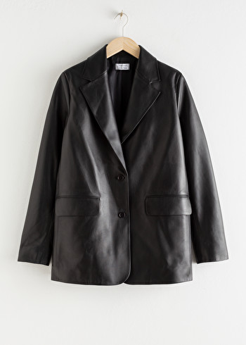 앤 아더 스토리즈 & OTHER STORIES Oversized Leather Blazer,Black
