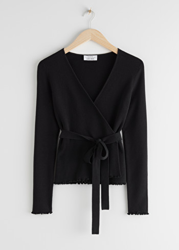 앤 아더 스토리즈 & OTHER STORIES Fitted Wrap Cardigan,Black