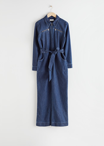 앤 아더 스토리즈 & OTHER STORIES Organic Cotton Denim Jumpsuit,Mid Blue