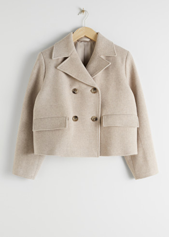 앤 아더 스토리즈 & OTHER STORIES Cropped Double Breasted Wool Blend Jacket,Beige
