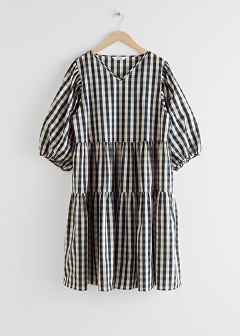 앤 아더 스토리즈 & OTHER STORIES Voluminous Puff Sleeve Midi Dress,Gingham
