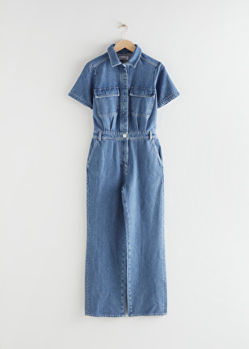 앤 아더 스토리즈 & OTHER STORIES Boxy Denim Jumpsuit,Mid Blue