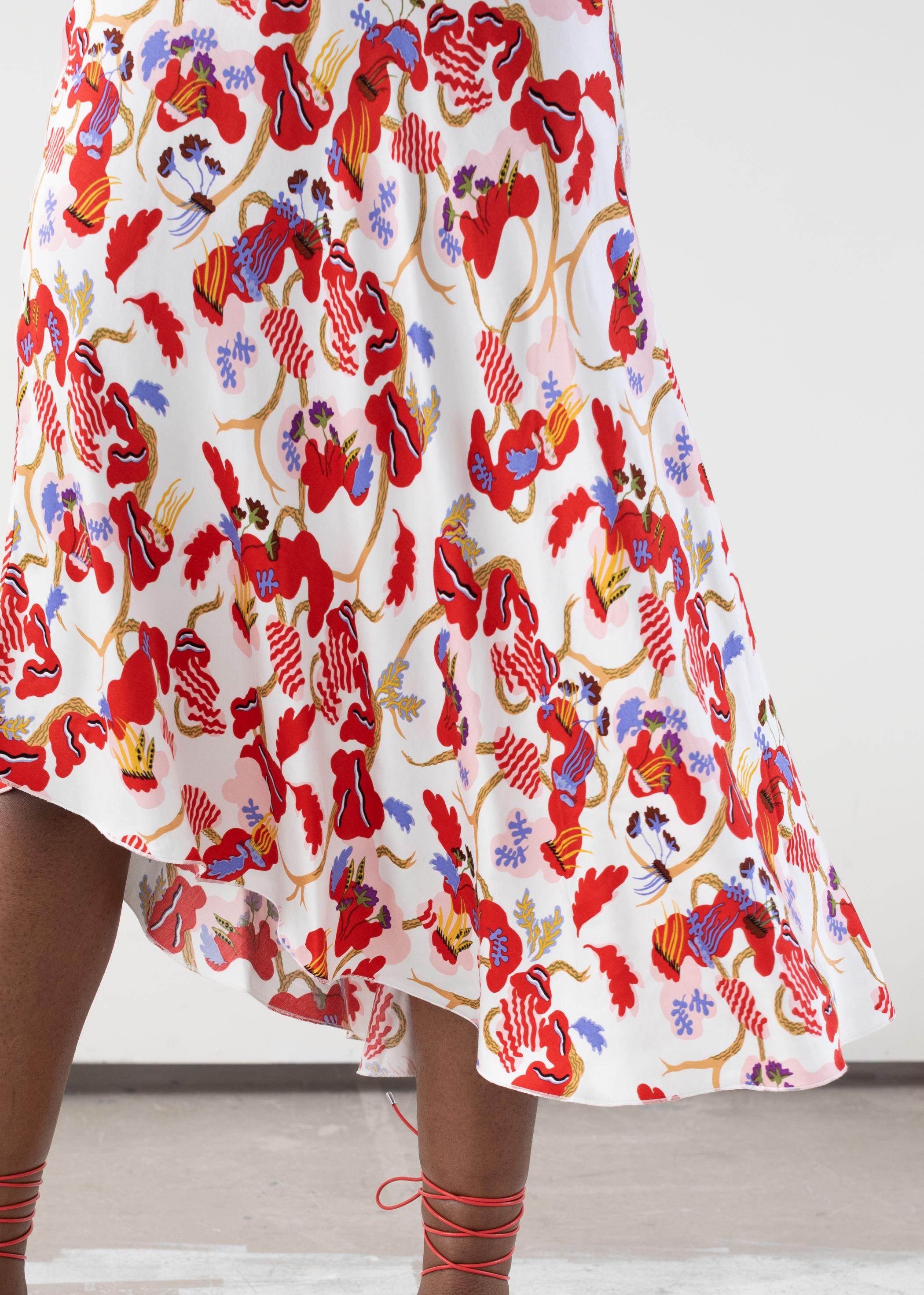 앤 아더 스토리즈 새틴 미디 스커트 & OTHER STORIES Asymmetrical Satin Midi Skirt,Floral