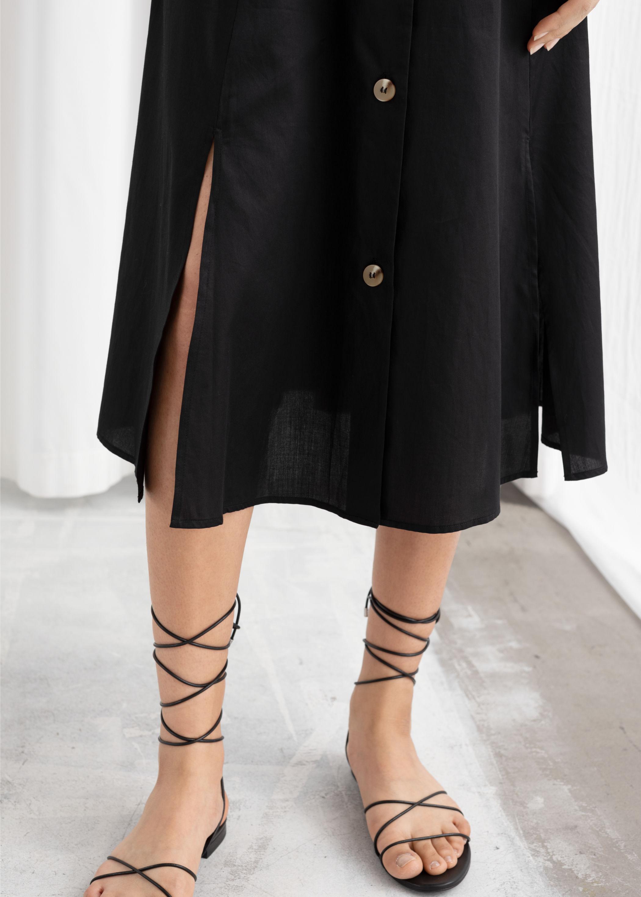 앤 아더 스토리즈 미디 스커트 & OTHER STORIES Flared Button Up Midi Skirt,Mint Stripe
