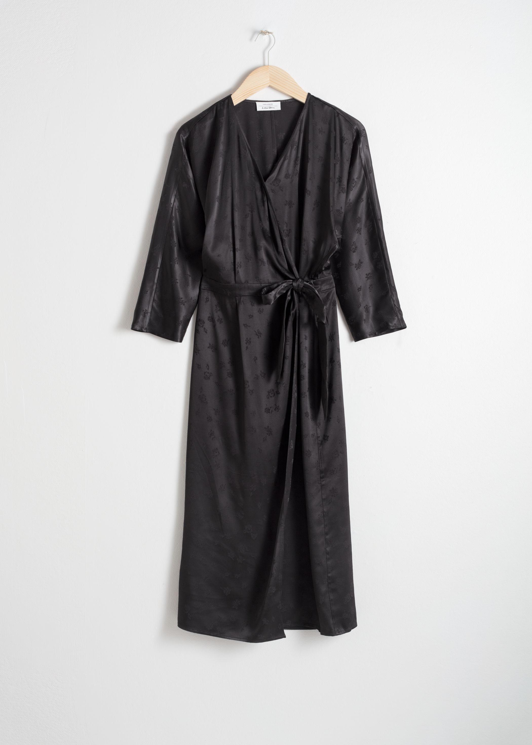 앤 아더 스토리즈 랩 원피스 & OTHER STORIES Satin Jacquard Wrap Dress,Black