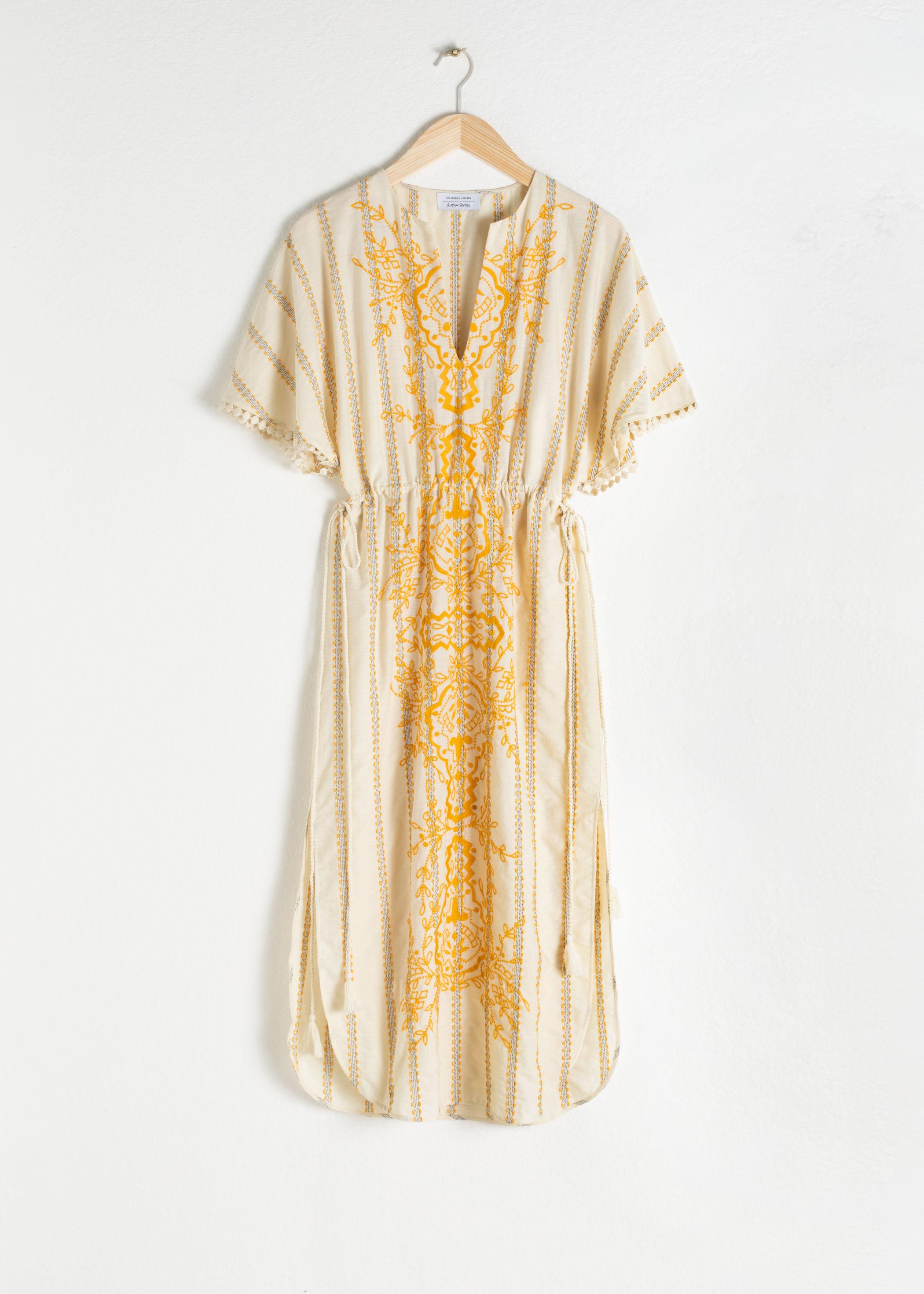 앤 아더 스토리즈 & OTHER STORIES Embroidered V-Neck Cotton Kaftan,Yellow