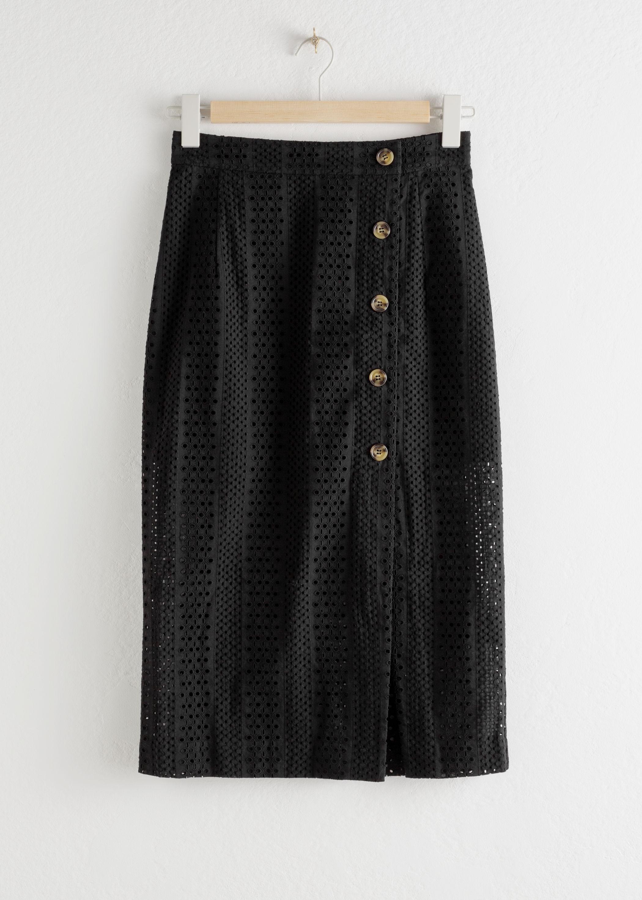 앤 아더 스토리즈 미디 스커트 & OTHER STORIES Cotton Dobby Pencil Midi Skirt,Black