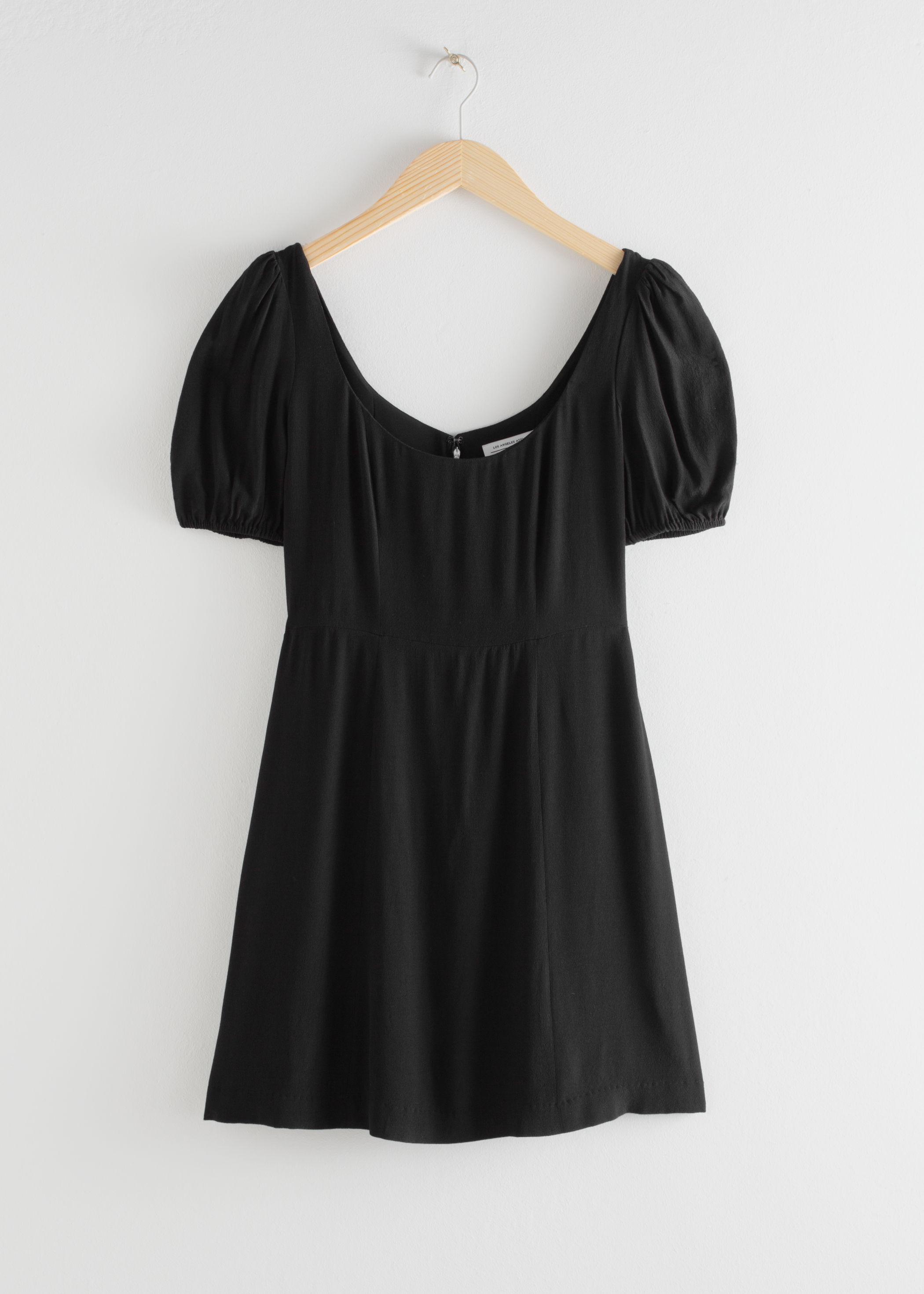 앤 아더 스토리즈 & OTHER STORIES Puff Sleeve Crepe Mini Dress,Black