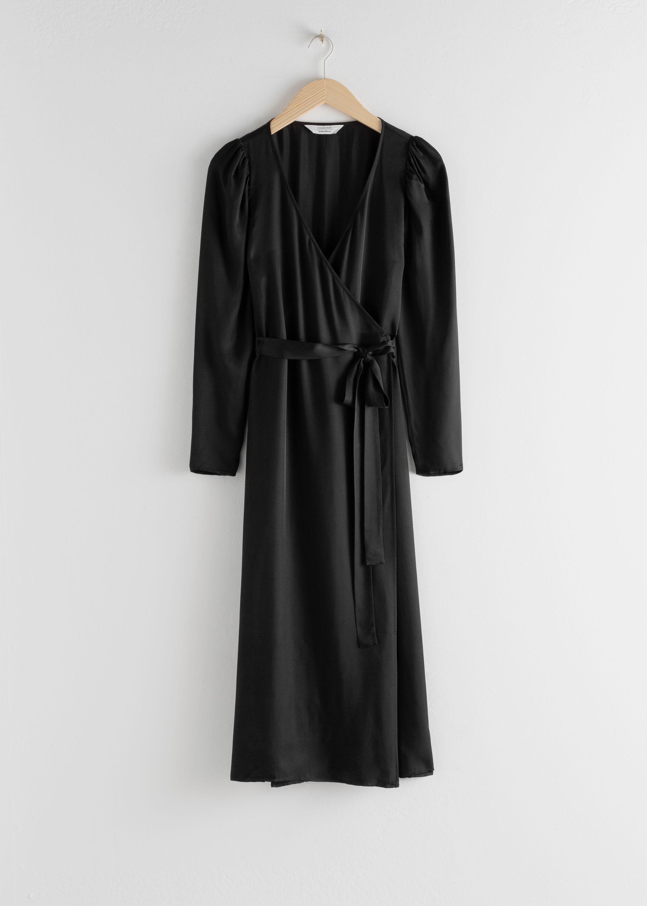 앤 아더 스토리즈 랩 원피스 & OTHER STORIES Puff Sleeve Midi Wrap Dress,Black