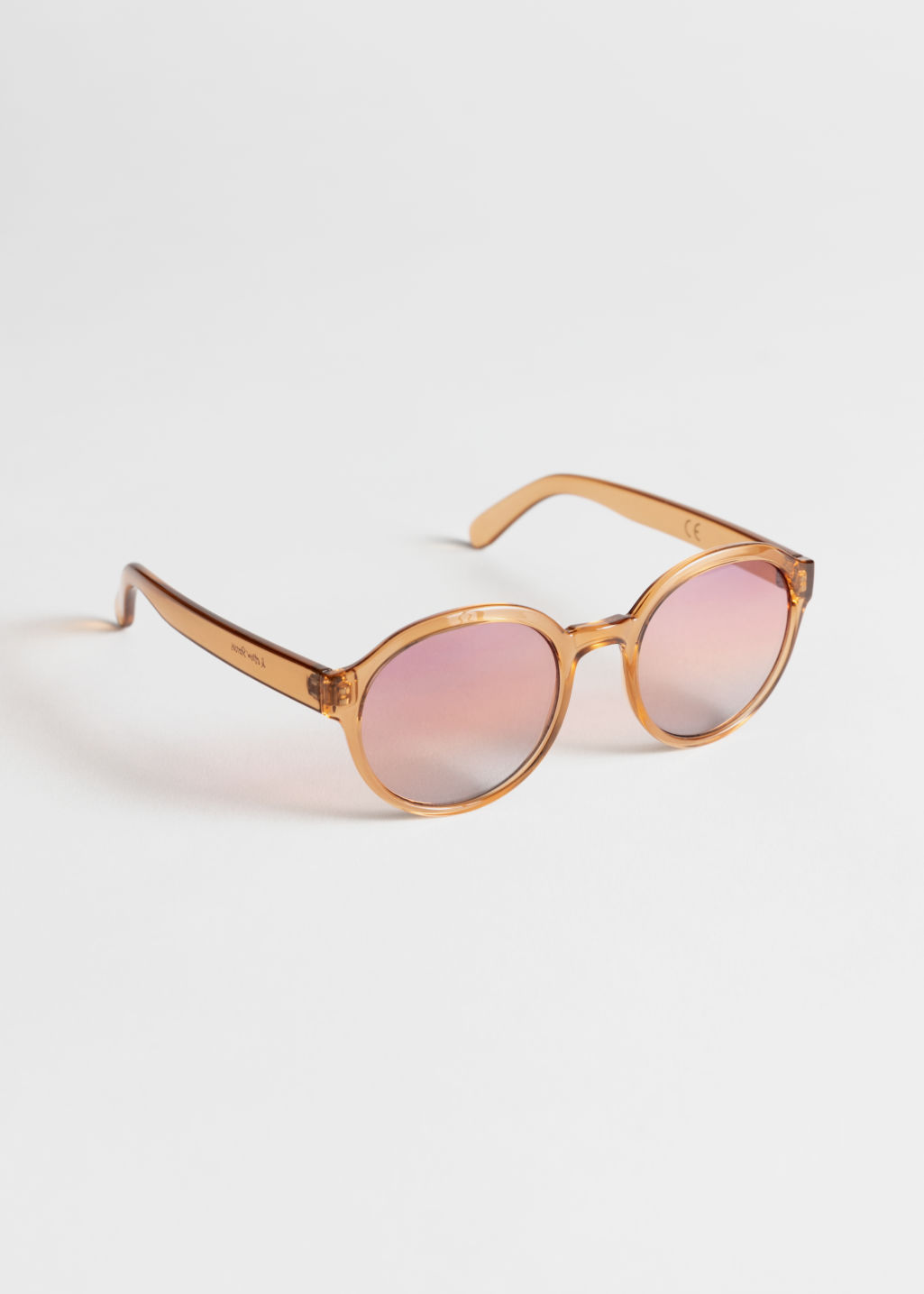 881e512e184 Round Frame Sunglasses - Pale Pink - Sunglasses -   Other Stories