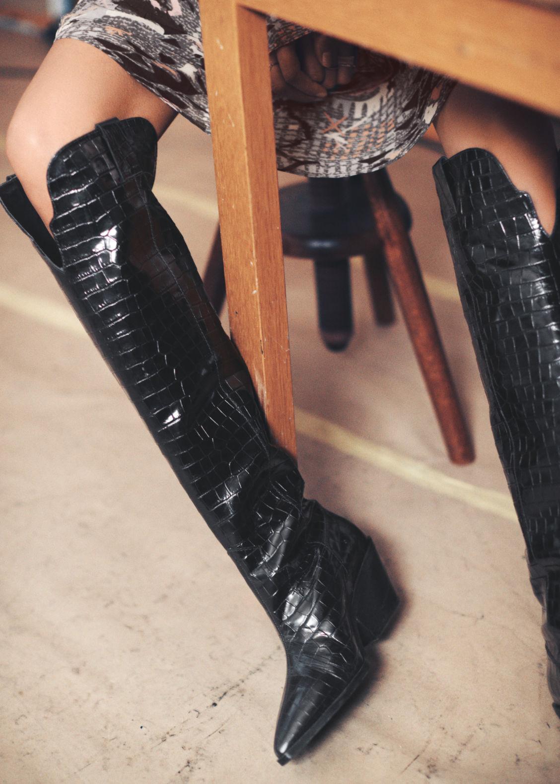 9ae4b08ca9601 Patent Croc Knee High Cowboy Boots - Black
