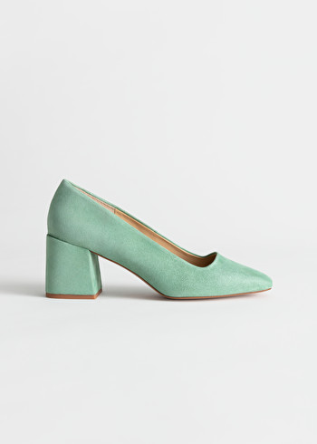 StillLife Front Image of Stories Suede Block Heeled Pumps in Green