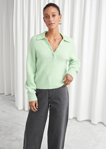 Lookbook Front Image of Stories Collared Wool Blend Ribbed Sweater in Green