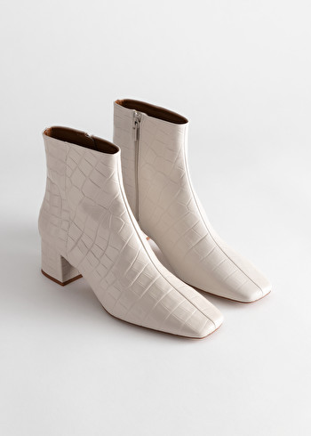 StillLife Side Image of Stories Croc Embossed Leather Square Toe Boots in White