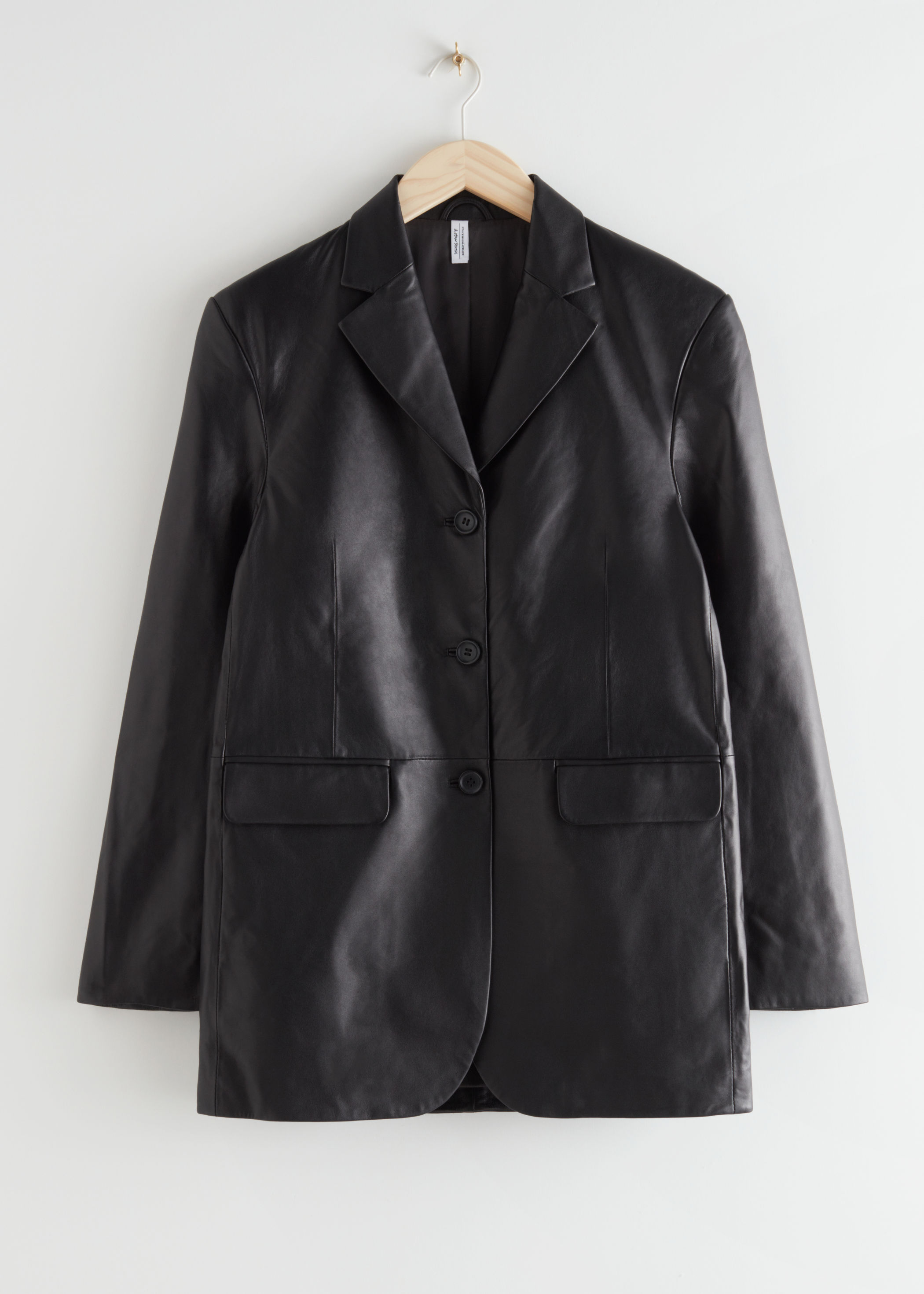 Long Fitted Padded Shoulder Leather Blazer & Other Stories